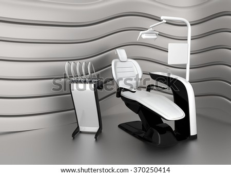 Stylish dentist chair on a strage with metallic curved  background. 3D rendering image with clipping path - stock photo