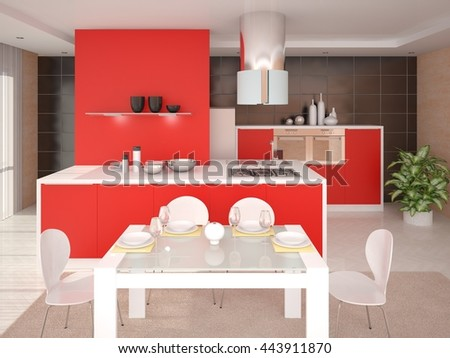 Stylish design with a perfect kitchen furniture, 3d rendering. - stock photo