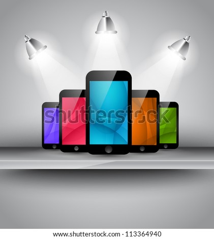 Stylish elegant home page background or brochure cover for your smarphone app with place for 5 phone screenshot.