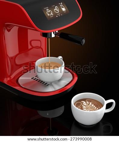Stylish espresso coffee machine with touch screen - stock photo