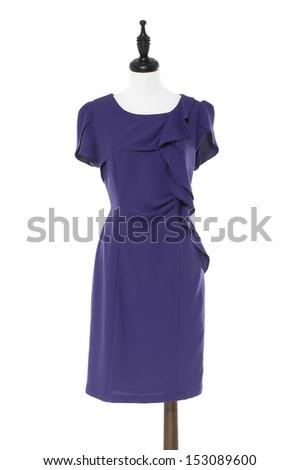 Stylish, evening female dress on a dummy isolated on a white background  - stock photo