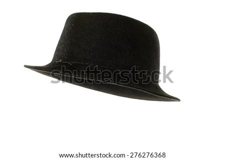 stylish fashion black trilby elegant hat isolated on white background - stock photo