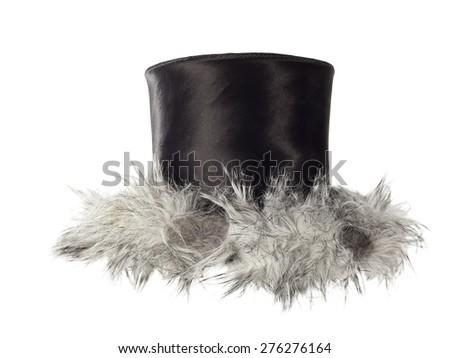stylish fashion elegant Black Top Hat isolated on white background - stock photo