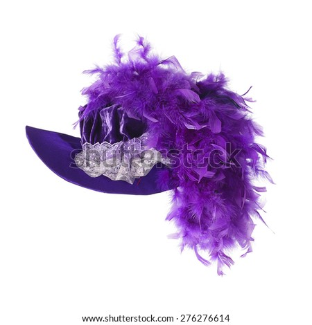 stylish fashion elegant hat with feathers isolated on white background - stock photo