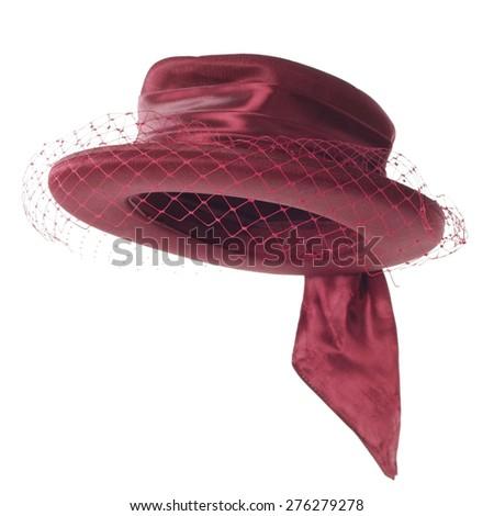 stylish fashion elegant silk hat isolated on white background - stock photo