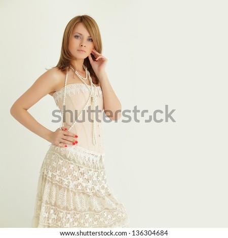 Stylish fashion model, vintage sexy summer style - stock photo