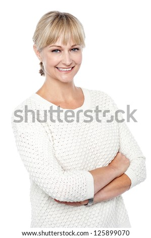 Stylish fashion woman in knitted clothing posing in style. - stock photo