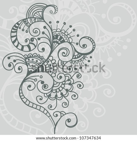 Stylish floral background, hand drawn flower, illustration