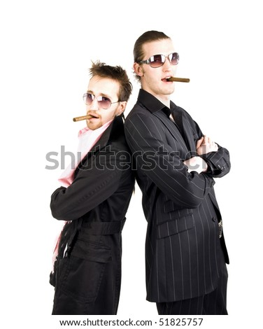 stylish gangster with cigars and sunglasses - stock photo