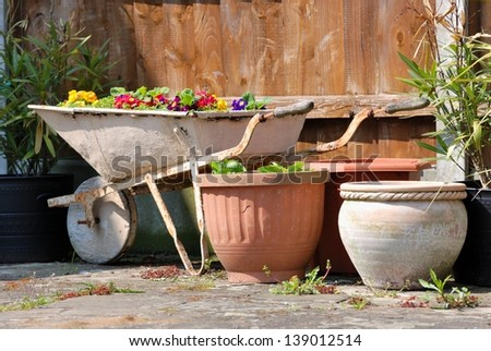 Stylish garden design with pots and pushcart