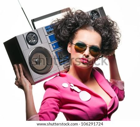Stylish girl loves the radio - stock photo