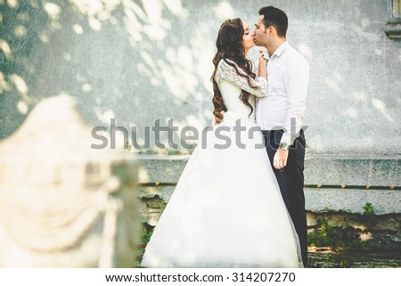 stylish gorgeous happy brunette bride  and elegant groom kissing on the background of an old building - stock photo