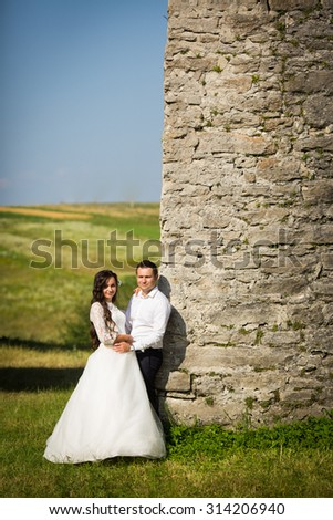stylish gorgeous happy brunette bride  and elegant groom on the background of an old wall - stock photo