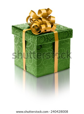 Stylish green present box with golden ribbon bow - stock photo