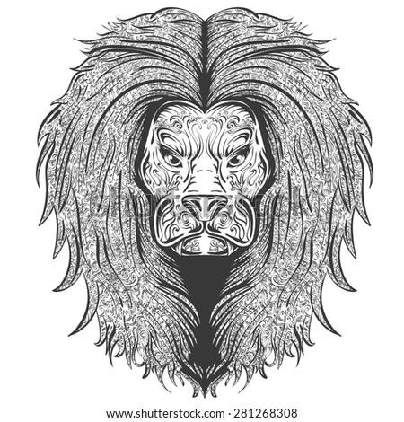 Stylish handdrawn lion decorated with vintage ornament - stock photo