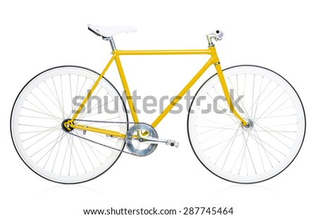 Stylish hipster bicycle isolated on white background - stock photo