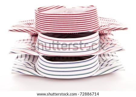 Stylish image of the collars of three shirts - stock photo