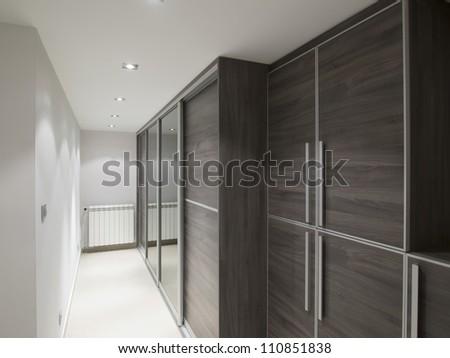 Stylish interior of a closet room / dressing room - stock photo