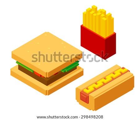 Stylish isometric fast food items: burger, hotdog and french fries, isolated on white background. - stock photo