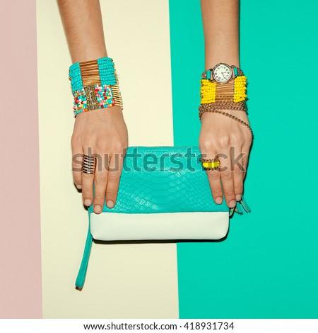 Stylish Jewelry and Clutch. Bright Summer fashion Lady - stock photo