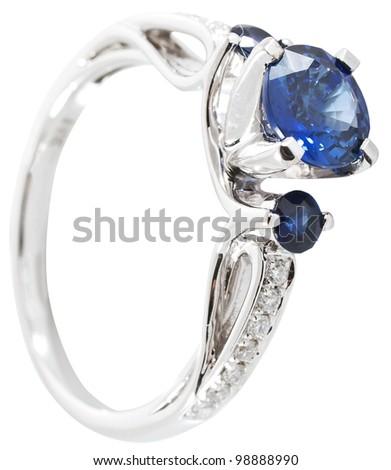 Stylish jewelry. Ring with gems isolated on white background - stock photo