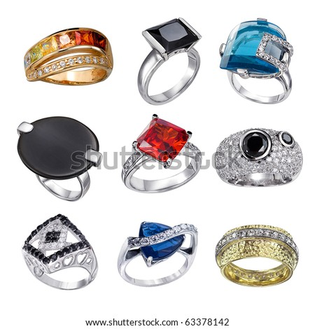 Stylish jewelry. Rings  with gems isolated on white background - stock photo