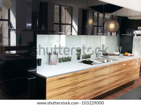 stylish kitchen with marble table - stock photo