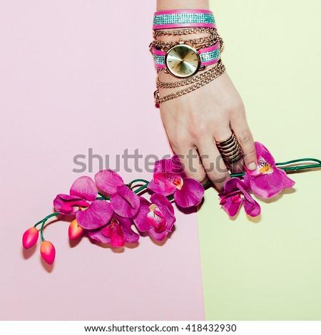 Stylish Lady Accessory. Glamorous Watch. Minimalism Fashion - stock photo
