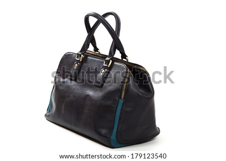 Stylish leather female handbag isolated on white background.