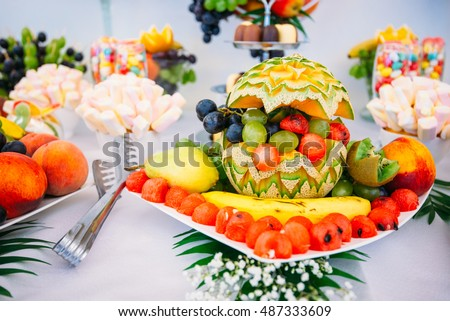 Stylish luxury catering party decor table stock photo edit now stylish luxury catering for party decor table of fruits wedding reception junglespirit Image collections