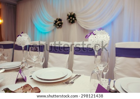 stylish luxury decorated tables for the celebration for a wedding of happy couple, cathering in the restaurant