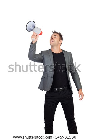 Stylish man with megaphone isolated on white background