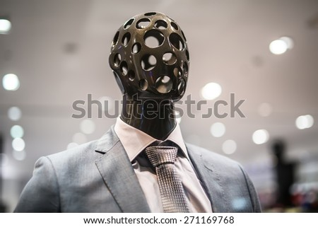 Stylish mannequin outside showcases a shopping center - stock photo