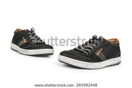stylish men's outdoor shoes on an isolated white background - stock photo