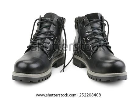 Stylish men's shoes isolated on white - stock photo