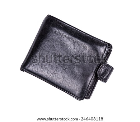 Stylish mens leather wallet black leather on a white background - stock photo