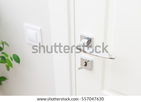 Stylish metal door handle and escutcheon for lock with key. Close-up elements of  sc 1 st  Shutterstock & Stylish Metal Door Handle Escutcheon Lock Stock Photo 557047630 ...