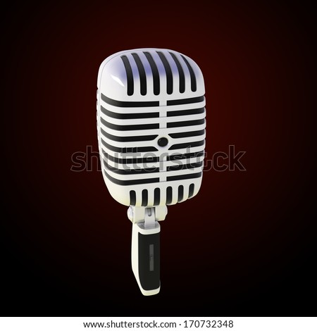 stylish microphone made of glossy metal on dark background