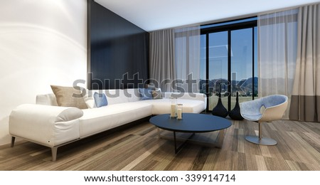 Stylish modern entertainment room with a huge wall mounted television set in front of panoramic view windows overlooking countryside, generic couch and tub chair. 3d Rendering. - stock photo