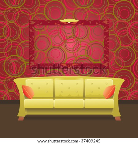 Stylish Modern interior with green sofa and blank frame on the wall, illustration