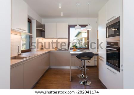 Stylish modern kitchen interior - stock photo