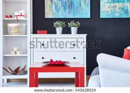 Interior Living Room Furnished Stylish Comfortable Stock Vector ...