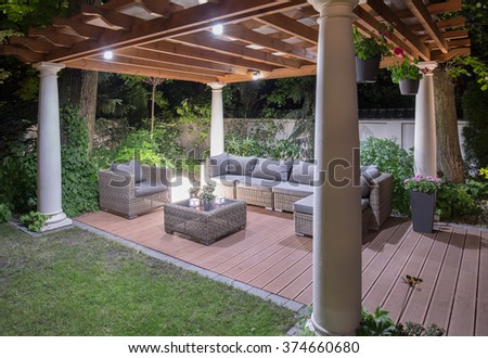 Stylish modern luxurious arbour in the evening
