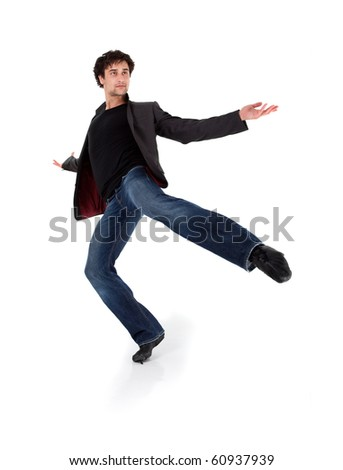 Stylish modern performer dancing, isolated on white background