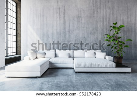 Stylish Modern White Modular Sofa Day Bed With Cushions In A Spacious Living Room Tall