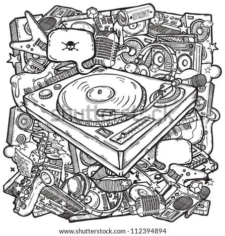 Stylish music background - stock photo