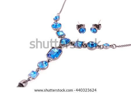 Stylish necklace isolated on white background.