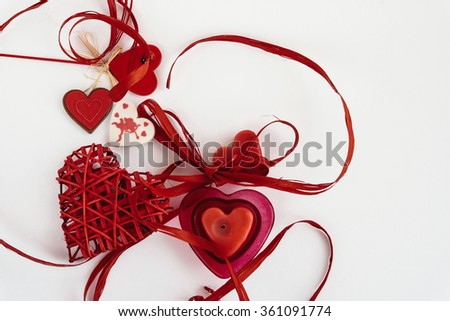 stylish objects of love for valentines day celebration for a couple, greeting card concept