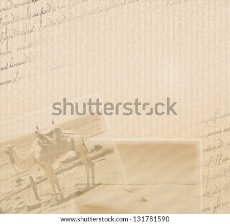 Stylish old vintage collage with a letter and photos from the exotic trip - stock photo