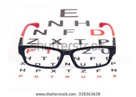 Stylish pair of glasses over ophthalmology Snellen chart used for eye testing - stock photo